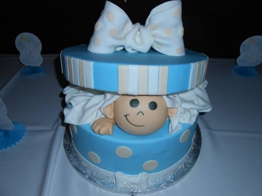 my super cute and yummy baby shower cake that everyone thought was a