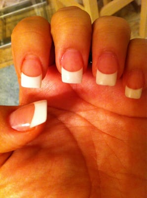 Pink and white powder gel overlay nails love them!!! | Yelp