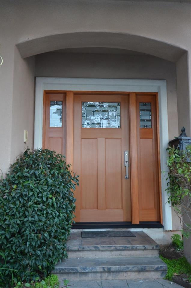 Fiberglass Entry Door Craftsman Style Stained To Look