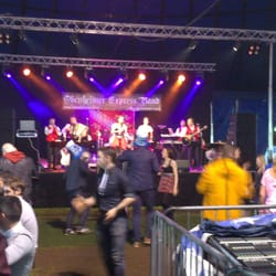 Bands playing live at the Oktoberfest at Glasgow Green.