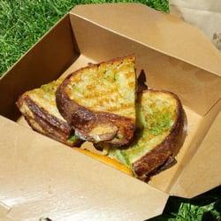 sopressata, fontina, and brocolli rabe pesto hot-pressend sandwich