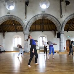 dancers rehearsing inside the performing space