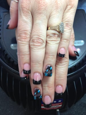 French Black Tip with Peacock Nails Design! | Yelp