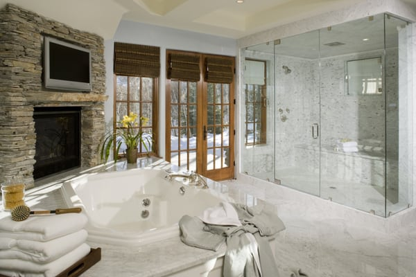 Master bath with extra large walk in shower yelp for Huge walk in shower