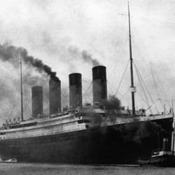 Titanic Leaves Belfast on her builders trials spring 1912.