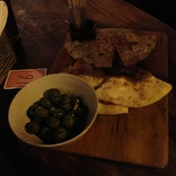 Olives and garlic bread
