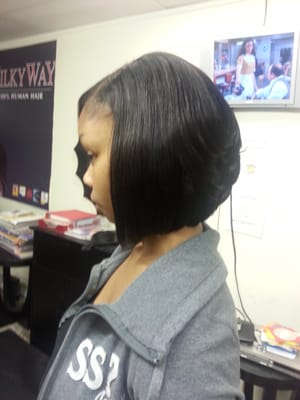 Feathered Bob Sew In Bob sew-in