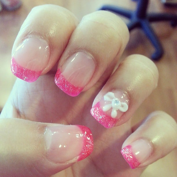 hot pink nails with diamonds-#23