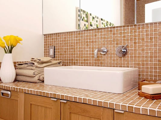 Ginger Recycled Glass Mosaic Tile on bathroom backsplash and ...