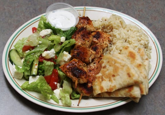 Best Chicken Souvlaki in SLC. comes with Rice Pilaf, Pita bread and ...