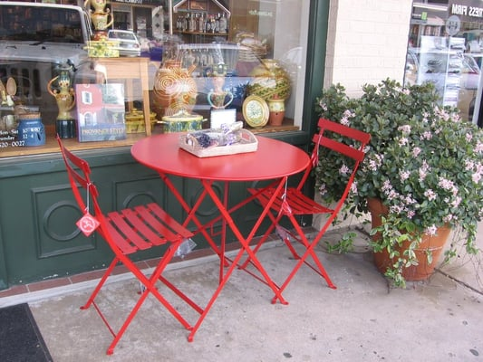 poppy red bistro table and chairs made in france yelp