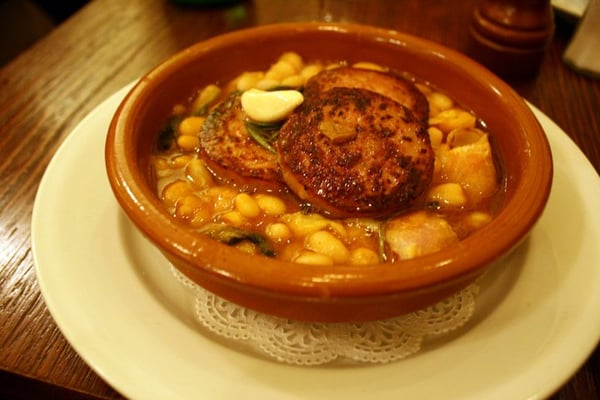Grilled cotechino sausage + cannellini beans in a spicy ...