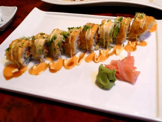 Ocean View sushi roll with spicy tuna, tempura-fried red ...
