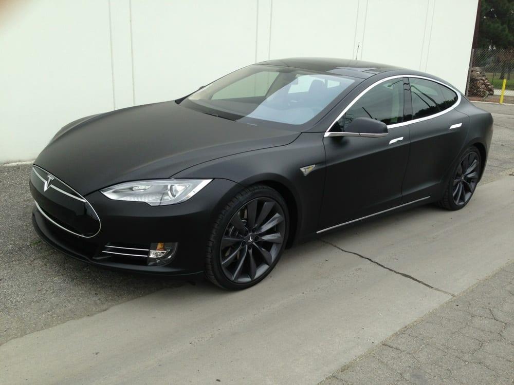 2013 Tesla Model S P85 Matte Black Vinyl Wrap Yelp