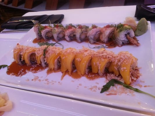 Mango covered sushi roll and another sushi roll (yum!) | Yelp