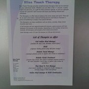 My list of therapy treatments on offer