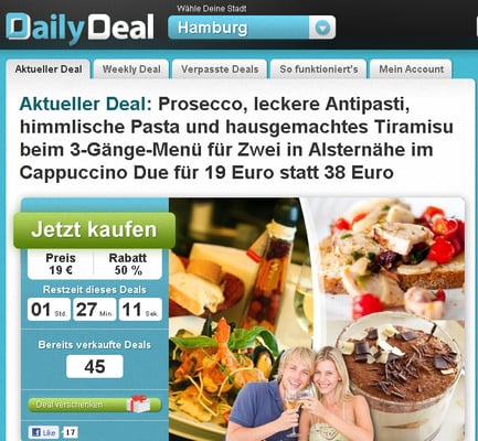 Screenshot der Hamburger DailyDeal-Homepage vom 26. 10. 2010