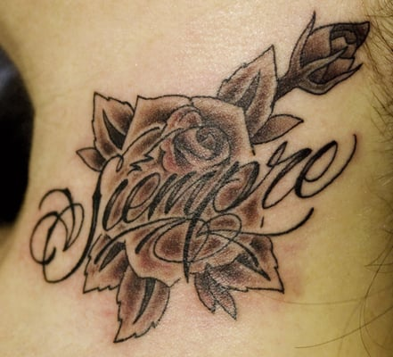 Black and grey lettering tattoo by eddie molina the hand for Grey tattoo writing