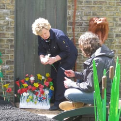 Judith helping Top Gear's James May with his plastercine garden at Chelsea Flower Show 2009