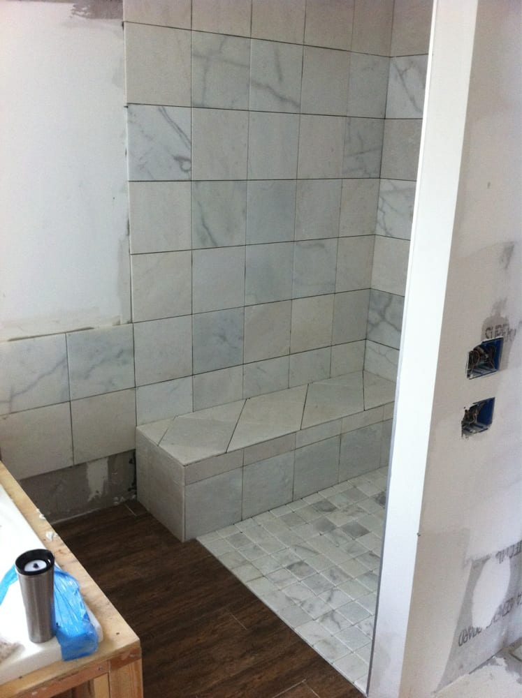 Current Tile Shower In Progress Marble And Wood Style