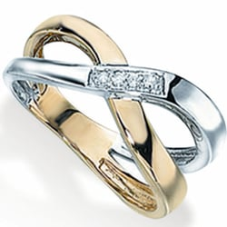 9ct White & Yellow Gold & Diamond Crossover Ring