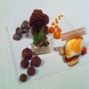 Chocolate, buttermilk pumpkin ice cream, canache, aerated chocolate, fennel, sea buckthorn, milk mousse, rosehip