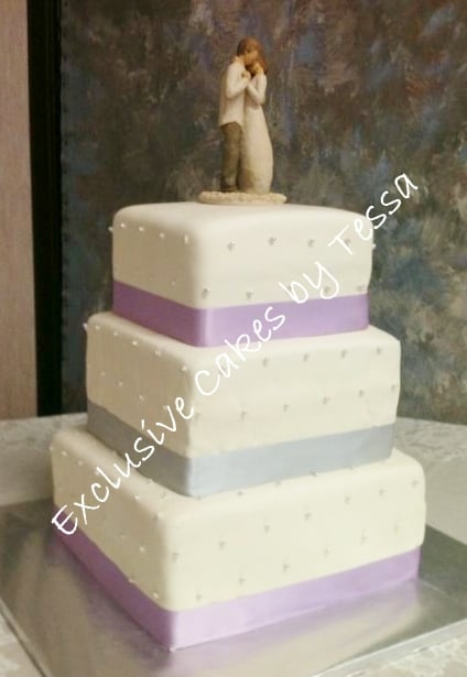 Classic 3 Tier Square Wedding Cake Exclusive Cakes By Tessa Yelp