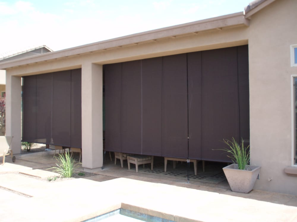 Patio roll up shades with 90 brown textilene yelp for Roll up screens for porches