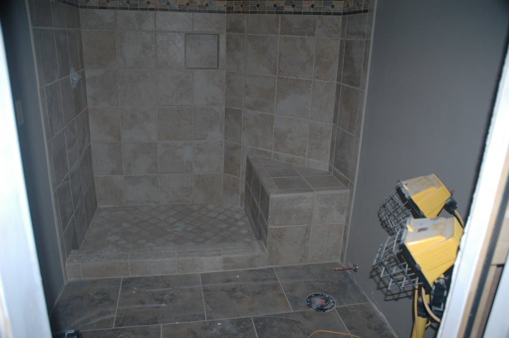 Floor Tile Shower Surround Including Seat Curb Alcove And Feature