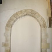 Norman doorway, with zig-zag and dog-tooth decoration.