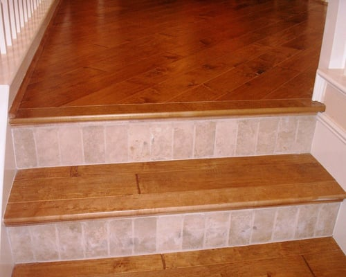 Stairs made from hardwood flooring w tile risers yelp - Stairs with tile and wood ...