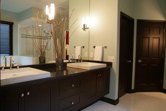 Contemporary black maple floating vanity in spa like for Spa like small bathroom designs