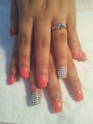 Full set acrylic + gelpolish righstones $45.00 | Yelp