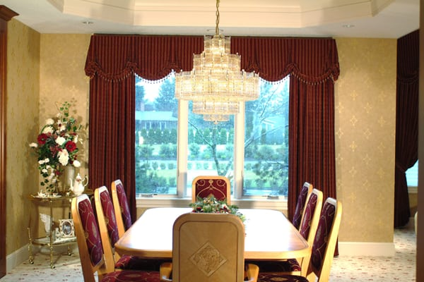 custom window valances and drapery panels traditional dining room