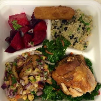 , kale salad, empress chicken, grilled sea bass with pineapple salsa ...