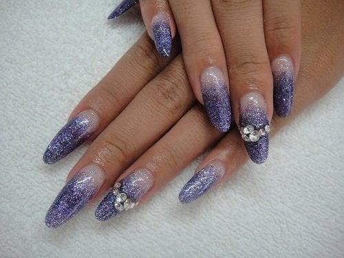 Acrylic sculptured nail, glitter, swarovski rhinestones | Yelp