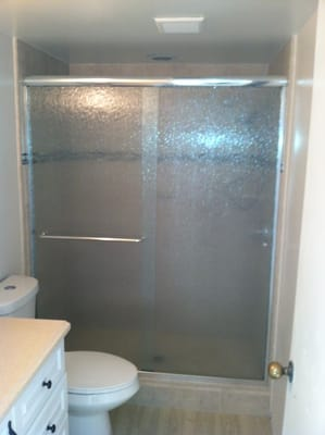 Euro style semi frameless sliding shower door with rain glass yelp