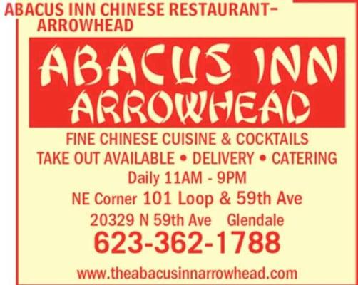 Abacus inn chinese restaurant arrowhead glendale az for Abacus cuisine of china