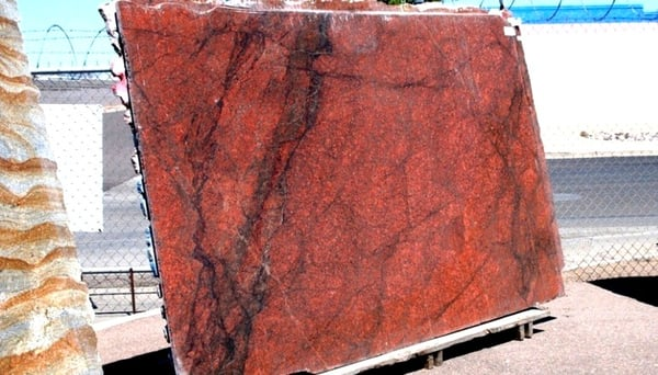 Red Dragon Granite : Full slabs of red dragon granite imagine this in a