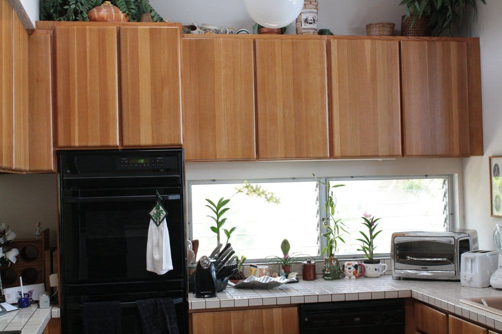 Photo 3b after refinishing solid oak kitchen cabinet yelp for Best way to refinish oak kitchen cabinets