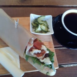 Serrano ham, mozzarella on French bread with a filter coffee