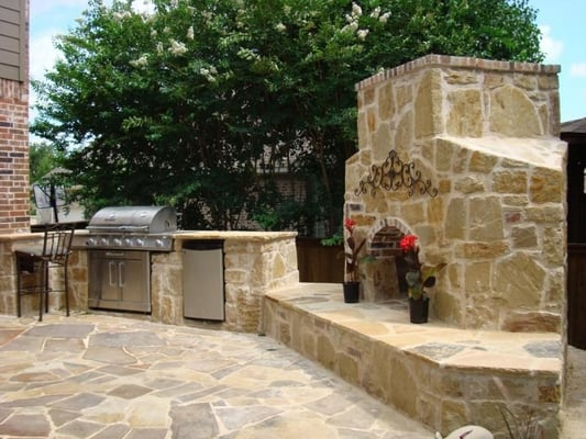 Outdoor kitchen fireplace flagstone patio keller tx yelp Flagstone patios colleyville tx