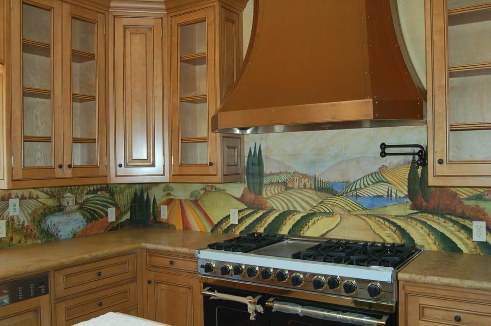 Kitchen counter with hand painted tile backsplash yelp for Painted kitchen backsplash designs