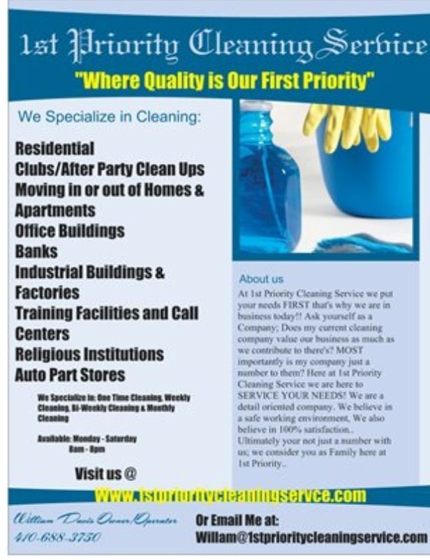 1st priority cleaning service flyer yelp for Bathroom cleaning services near me