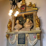 Memorial to Sir William Sheffield, d. 1633. Restored after 1942 bombing.