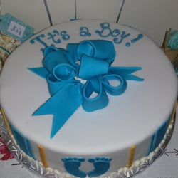 Baby shower cake. It is a triple chocolate mousse - tasted great and ...