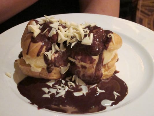 Cream Puffs With Ice Cream And Hot Fudge Sauce Recipe — Dishmaps