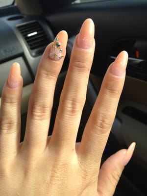 acrylic full set with 3D flower designs on 3 nails - $70 | Yelp
