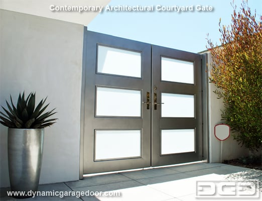 Steel Amp Opaque Glass Entry Gate With Chrome Handles