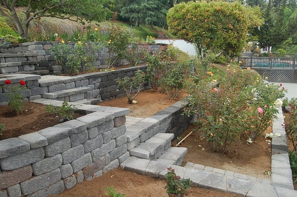 Terraced Hillside Garden With Stone Work And Patio By East